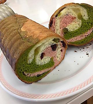 春色マーブルのラウンドパン