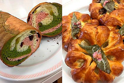 春色マーブルのラウンドパン/桜あんパン