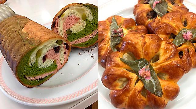 6月13・15日:春色マーブルのラウンドパン/桜あんパン