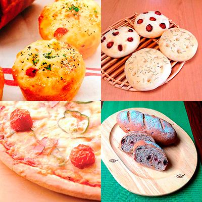 ジャーマンポテトパン&フォカッチャ/ピザ&ソフトフランスパン(くるみ、レーズン入り)