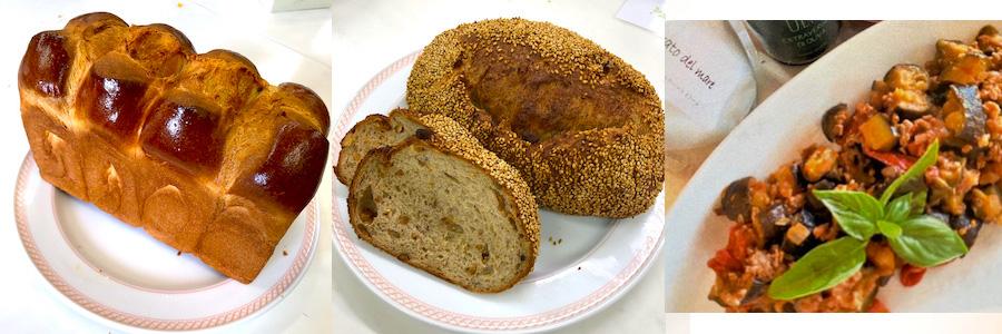 9月のメニュー:ホテル食パン/味噌ごまくるみカンパーニュ/なすのミートソース