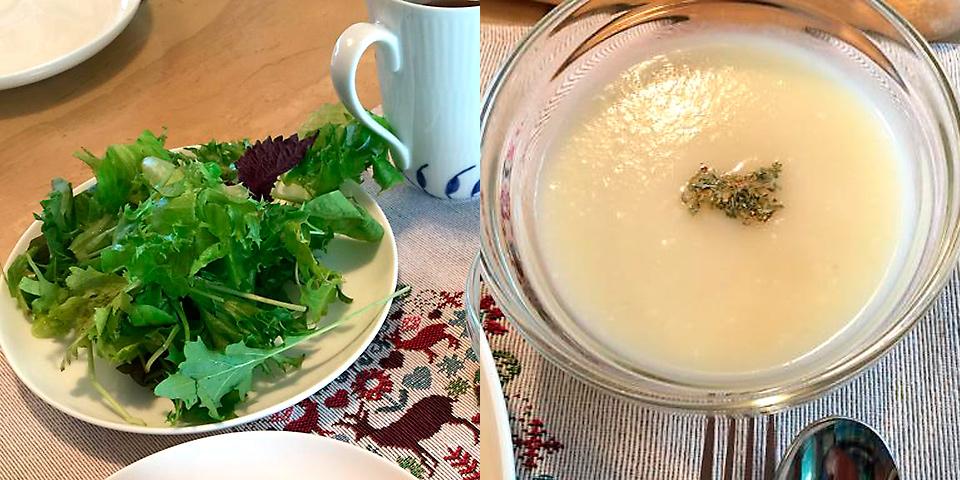 厳選したオリーブオイルと塩だけで味付けしたサラダと季節のお野菜を使ったおいしいスープ